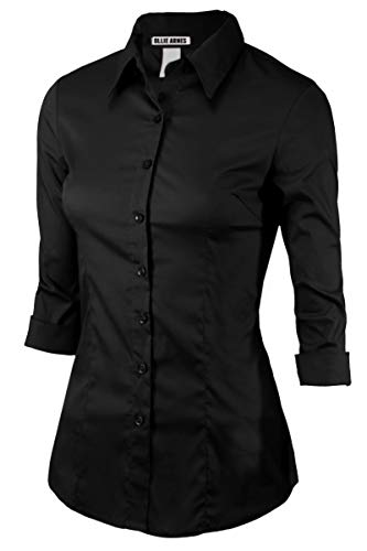 Women 3/4Sleeve Office Casual Button Down Blouse Shirt Junior PlusSize(Up to 6X) NMJ5_Black 4XL