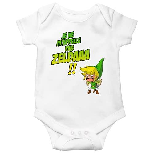 Okiwoki Baby Body Kurzarm Schwarz Parodie Zelda Link - Ein Heurengueule ... (hochwertiger Babybody - bedruckt in Frankreich), weiß, 86