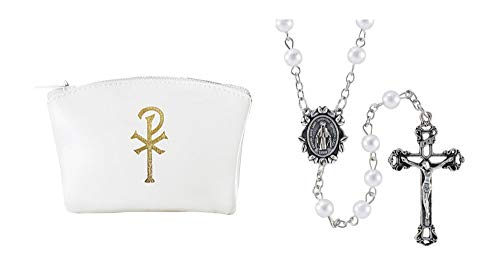 Holly Lines White Imitation Pearl Catholic Rosary and White Chi Rho Zipper Case, White Bead Miraculous Medal Purse or Pocket Rosary with White Vinyl Case
