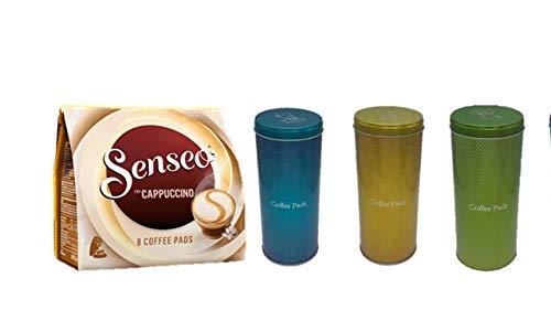 Senseo Kaffeepads Cappuccino, Milchschaumklassiker, Kaffee, neue Rezeptur + Kaffeepaddose 18 Pads -3 Set türkis gold grün