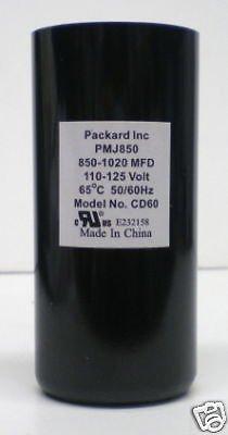 Packard PMJ850 Motor Start Capacitor. 850-1020 MFD UF / 110-125 VAC