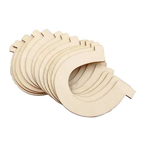EXCEART 24 Unidades de Discos de Madera Rebanadas de Herradura Forma de Herradura Recortes de Madera sin Terminar Piezas de Madera Natural para Manualidades de Artesanía Decoración de