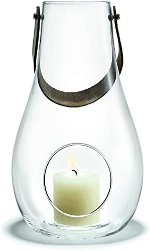 Holmegaard Design Kerzenlicht Laterne, Windlicht aus Glas mit Kernleder Henkel, Dekolaternen für innen und außen, Klar, 25cm