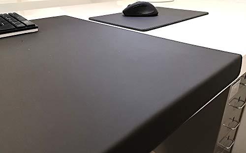 Hoekige bureauonderlegger met randbescherming + muismat echt leer zwart 90 x 47 cm echt rundleer glad
