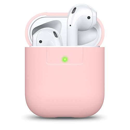 elago Funda Silicona Compatible con Apple AirPods 1 & 2 (LED Frontal Visible) - Soporta Carga inalámbrica, Extra Protección (Lovely Rosa)