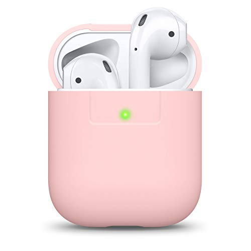 elago Funda Silicona Compatible con Apple AirPods 1 & 2 (LED Frontal Visible) - Soporta Carga inalámbrica, Extra Protección (Lovely Rosa)