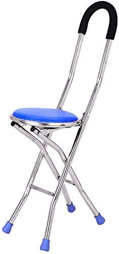 Durable Stainless Steel Portable Folding Walking Stick Chair Seat Stool Travel Cane Chair for Fishing Garden Camping