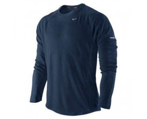 NIKE Miler UV, Camiseta de running para hombre, Azul (Navy/Silver), XXL