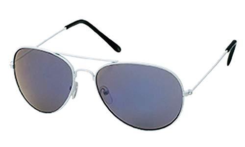 Chic-Net Gafas de Sol Gafas de Aviador 400 UV Estructura de Metal Blanco de Colores reflejados Azul Oscuro