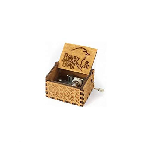 MaylFre Hölzerne Spieluhr Klassische Geschnitzte Musical Box Crafts Schöne Und Das Biest Geschenke Für Kinder Freunde