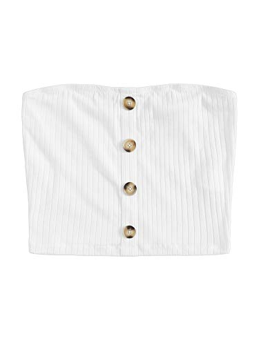SheIn Women's Sexy Strapless Crop Top Tube Top Button Up Stretchy Ribbed Knit Bandeau Top White Small