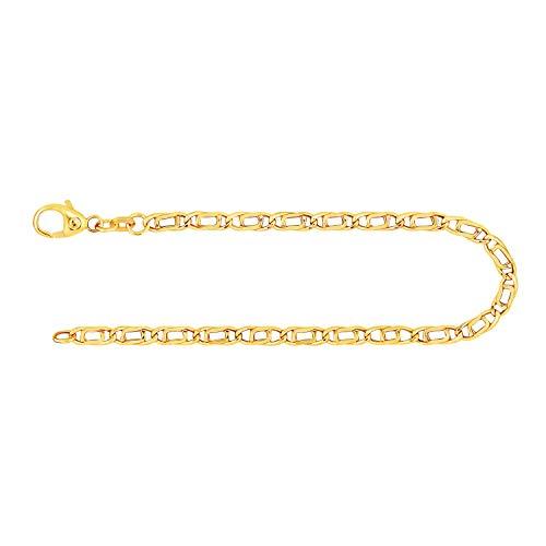Feines Armband Damen Herren Echt Gold 3.8 mm, Tigeraugenkette hohl aus 333 Gelbgold, Goldarmband mit Stempel und Karabinerverschluss, Länge 19 cm, Gewicht ca. 2.4 g, Made in Germany
