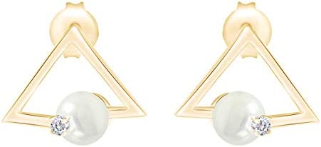 Geometric triangle Simulated Shell Pearl Drop 8mm Stud Earrings in 925 Sterling Silver product image