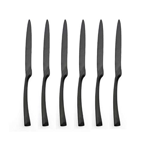 6 piezas de lujo mate negro cena cuchillo vajilla conjunto de vajillas...