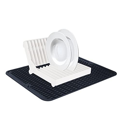 Sooair Afdruipmat van siliconen mat met afdruiprek, afdruiprek, keukenschotelrek voor keukenplaten snijden, extra grote anti-slip siliconen droogmatten voor keuken werkblad wastafel (zwart, L)