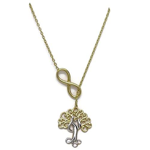 Never Say Never Collar de Oro Amarillo y Blanco de 18k árbol de la Vida con Infinito. 42cm. 4.00gr de Oro de 1 Ley