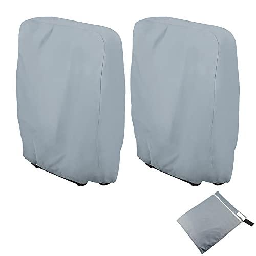 Schutzhülle Klappstühle 2Stk Abdeckung Gartenmöbel UV-Beständig Klappstuhl Abdeckung Wetterfest Shutzhülle Klappbaren Liegestuhl aus 210D Oxford 110cmx71cm, mit Tragetasche (Grau)