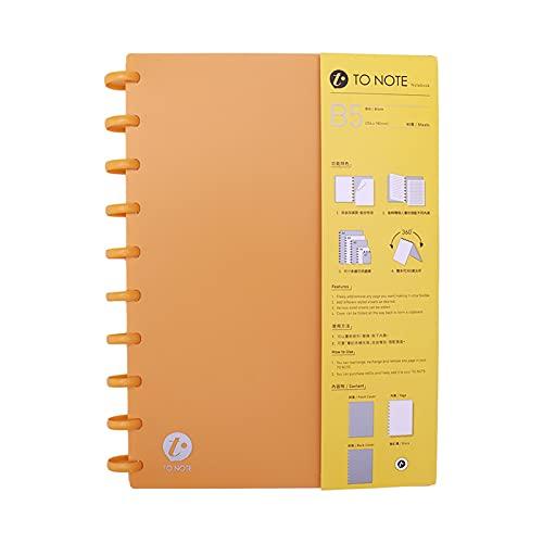 Raccoglitore a fogli mobili,Fesjoy B5 Notebook con copertina rigida con copertina rigida ricaricabile Notebook con fogli staccati punteggiati / Carta bianca con fori per funghi 10-Ring Binder