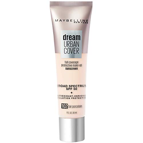 Maybelline Dream Urban Cover Flawless Coverage Foundation Makeup, SPF 50, Fair Porcelain