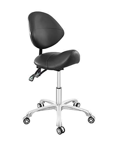 Senkelly Rolling Saddle Stool with Backrest Height Adjustable Ergonomic Workbench Stool Chair with Wheels for Beauty Salon Medical Clinic Lab Kitchen Studio Office Classroom (Black, with Backrest)
