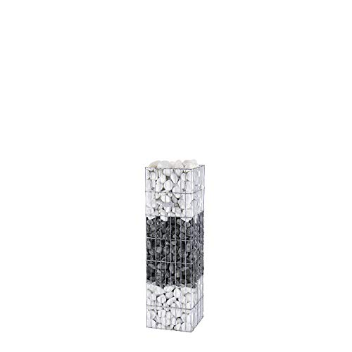 bellissa Gabionen-Steinsäule PRONTO eckig - 95203 - Gabionensäule eckig mit Pfosten - fertig montiert - 30 x 30 x 105 cm