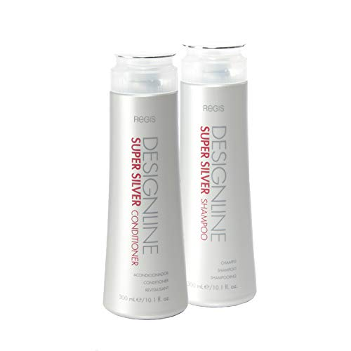 Super Silver Shampoo and Conditioner Duo Pack, 10.1 oz - Regis DESIGNLINE - Restores Moisture, Boost Color for Blonde, Grey, White Hair, Strengthens and Improves Elasticity to Prevent Color Fade