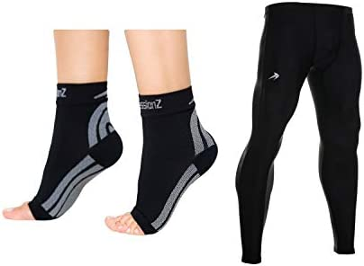 CompressionZ Compression Foot Sleeves Men s Compression Pants Bundle Black 3XL product image