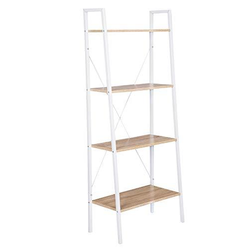 WOLTU Estantería Escalera Librería Organizador Multifuncional con 4 Estantes para Sala de Estar Blanco + Roble Claro RGB9283whe