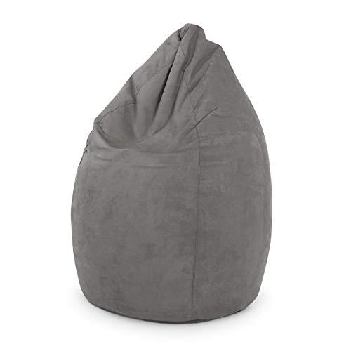 Green Bean © Drop Sitzsack 60x60x90 cm - 220 Liter EPS Perlen Füllung - Indoor Beanbag in Tropfenform - Sitzkissen Bean Bag Gaming Sessel - Gamer Lounge Chair in Wildleder Optik - Grau