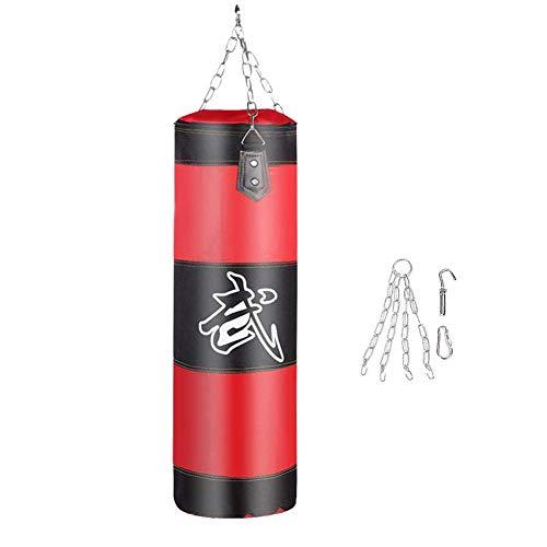 Whiie891203 Boxsack, Kickboxen, MMA, Muay Thai, Kampfkunst, Taekwondo, Boxsandfüllung Verdicken Krafttraining Fitnessübung Punsch Sandsack rot 80cm