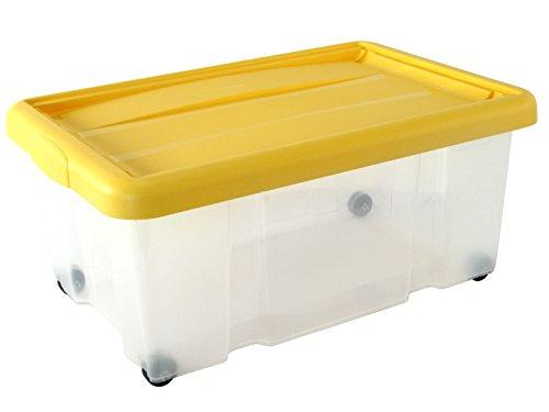 Tontarelli Puzzlebox de Rangement avec Couvercle à Clip-Plastique-Jaune/Transparent/60 x 40 cm