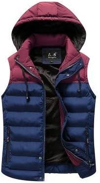 LYLY Vest Women Men Jacket Vest Mens Winter Hooded Sleeveless Men Waistcoat Two Color Matching Slim Warm Thick Hommes Vest Vest Warm (Color : Red Blue, Size : XXS)