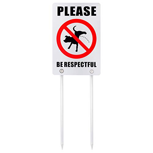 Kichwit Double Sided No Dog Peeing Yard Sign, Please Be Respectful Sign, All Metal Construction, Sign Measures 7.9' x 11.8', 14' Long Metal Stakes Included (Silver)