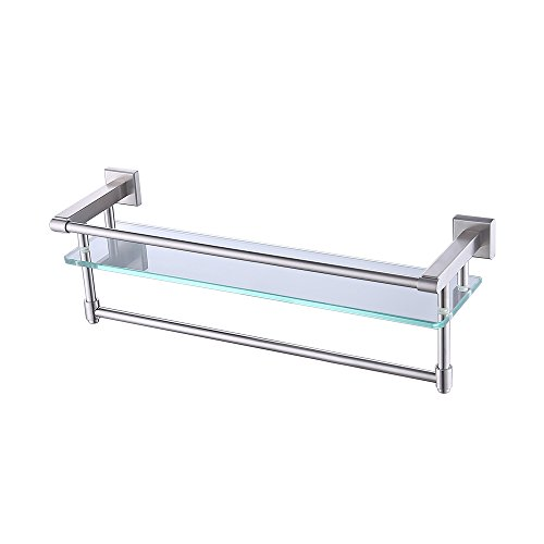 KES Bathroom Glass Shelf with Towel Bar and Rail 19.6 Inch x 5.9 Inch SUS304 Stainless Steel Brushed Finish Heavy-Duty Rustproof Wall Mount NO Drilling, A2225DG-2