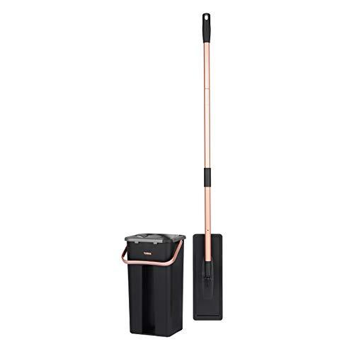 Tower T869006RGB - Mopa plana para mojado y seco con doble compartimento para cubo, 5 L, color negro y dorado rubor