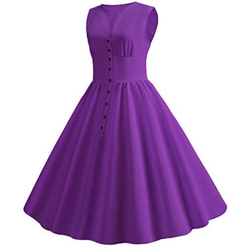 SUCES Damen Rockabilly Kleid Knielang 1950er Vintage Retro Kleider Solides Faltenrock Ärmellos Hohe...
