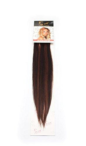1st Lady soyeux droites Naturel européen 3 pcs extension de cheveux humains à clipser avec Premium Blend, Nombre P1b/33, Off Noir/riche en cuivre rouge, 45,7 cm 28 g
