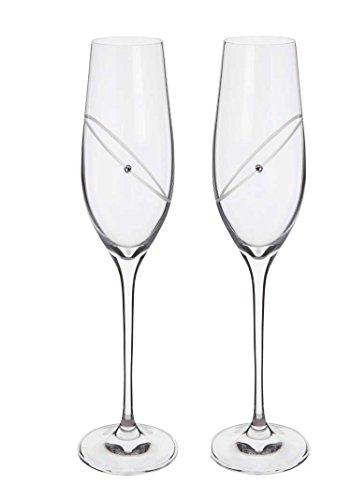 Dartington Crystal Glitz Celebration Lot de 2 flûtes à champagne Transparent
