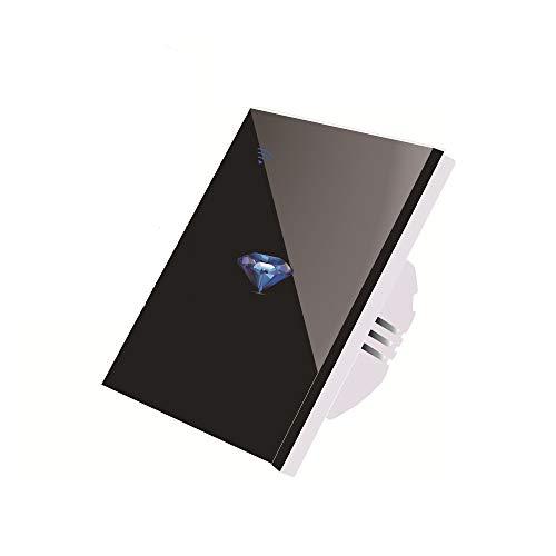 Wifi lichtschakelaar, smart lichtschakelaar voor Alexa en smartphone, touchscreen-schakelaar, spraakbediening, overbelastingsbeveiliging, draadloze wandschakelaar zwart