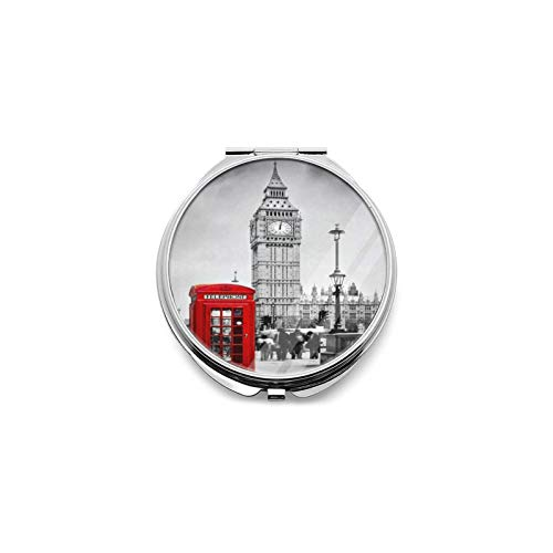 Best Travel Mirror Retro Red Telephone Booth Big Ben London Round Magnifying Mirror Small Compact Mirror For Pocket, Portable Makeup Mirror, Foldable Travel Personal Mirror 1x & 2x Magnification