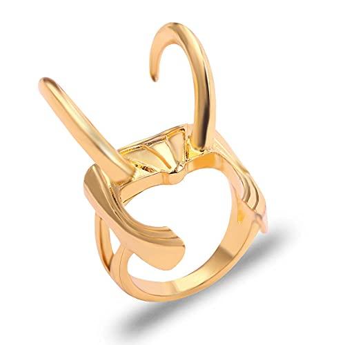 XMxx Loki Ring Loki - Anillo para casco de aleación de zinc, color dorado, talla 7 a 12, regalo para hombres y mujeres, 11