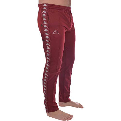 Kappa Mens 222 Banda Astoria Snaps Slim Fit Poppers Tracksuit Pants - Red Bordeaux - M