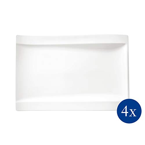 Villeroy & Boch - NewWave Gourmet-Set, 4 tlg., 21 x 69 x 4 cm, Premium Porzellan, spülmaschinen-, mikrowellengeeignet, weiß