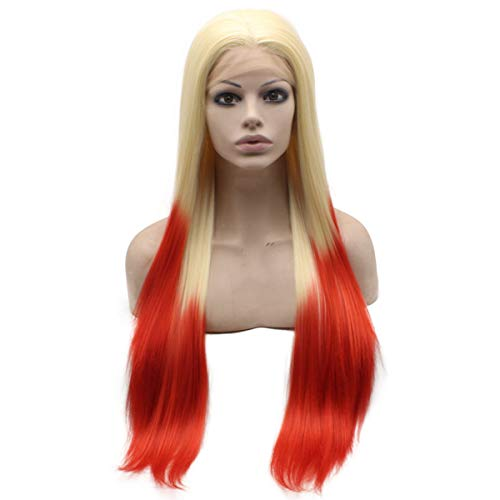 Mxangel Long Straight Ombre Blonde Red Synthetic Lace front Wig Heat Friendly Fiber