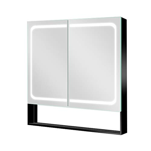 Aluminum Bathroom Mirror Cabinet, Double-Sided Wall-Mounted with LED Lights Double Door Lockers, Sensor Switch + Stepless Dimming + Smart Defogging Medicine Cabinet