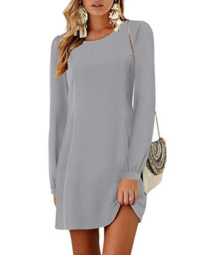 YOINS Sommerkleid Damen Kurz Tshirt Kleid Rundhals Kurzarm Minikleid Kleider Langes Shirt Lose Tunika mit Bowknot Ärmeln ,XL,Langarm-grau