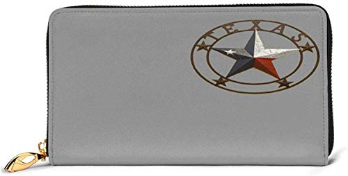 naotaori Cartera de Mujer Western Texas Star Leather Wallet Lightweight PU Leather Purse Extra Capacity Zipper Clutch Practical Money Organizers with Card Slots For Women