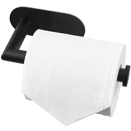 Matte Black Toilet Roll Holder Self Adhesive, 3M Stick on Toilet Roll Holder, Premium SUS 304 Stainless Steel, Toilet Paper Holder No Drill Rustproof for Bathroom