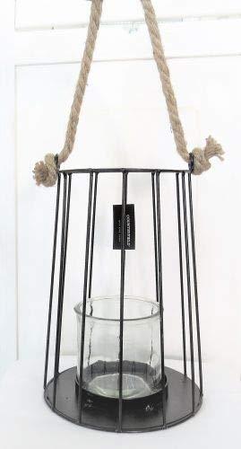 Countryfield Windlicht Laterne zum hängen Metall Glas schwarz 25 * 18 cm