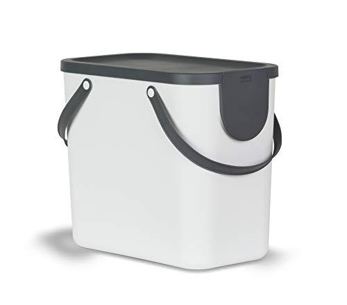 Rotho Albula Mülltrennungssystem für Küche / Mülleimer 25L / Kunststoff weiss/anthrazit 25 Liter